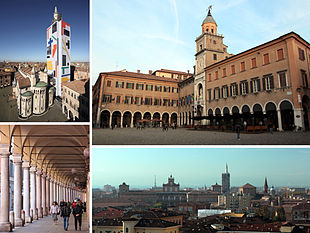Top left:Modena Cathedral and Ghirlandina Tower, Top right:Modena City Hall, Bottom left:Stoa of Portici del Collegio in Emilia Street, Bottom right:View of Modena Ducal Palace and San Domenico Cathedral from Dante Square