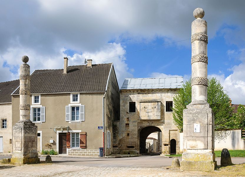 The monumental columns and the fortified gate of Nuits (Burgundy, France).