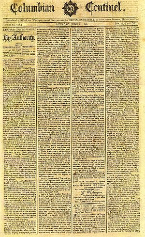 Militia Acts of 1792 - Front page of a newspaper announcing the second Militia Act of 1792.
