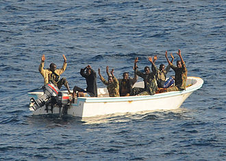 Skiff - Captured Somalian pirates with their skiff