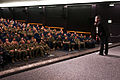 Comedian Bernie McGrenahan performs for U.S. Sailors in Sharkey Theater at Joint Base Pearl Harbor-Hickam, Hawaii, Feb. 3, 2012, during a personal readiness summit hosted by U.S. Pacific Fleet and the office 120203-N-WP746-001.jpg