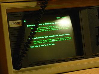 Compaq Portable - Running WordPerfect 5.0.