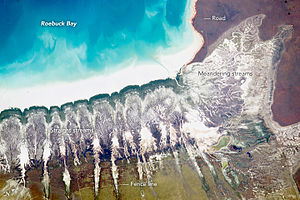 Roebuck Bay - Astronaut photo of the coastline of Roebuck Bay, 2015. Broome is just offscreen at top right.