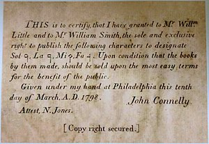 Shape note - An affidavit found on the verso of the title page of some copies of Little and Smith's The Easy Instructor, Part II (1803)