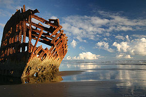 Bombardment of Fort Stevens - The wreck of the Peter Iredale