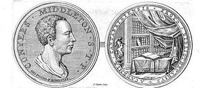 Conyers Middleton - Engraving from Middleton's Germana quaedam antiquitatis eruditae monumenta (1745), showing a 1724 medal of Middleton by Giovanni Pozzo.