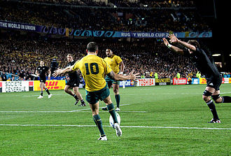 Quade Cooper - Cooper playing for Australia against New Zealand at the 2011 Rugby World Cup.