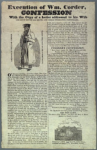Red Barn Murder - A broadside issued by T. Birt includes images and Corder's last letter to his wife