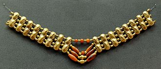 Carnelian - Necklace with gold beads and carnelian beads, Cypriot artwork with Mycenaean inspiration, ca. 1400–1200 BC. From Enkomi. British Museum