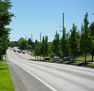 Cornell Road - Cornell near Aloclek in Hillsboro. This section of Cornell was opened as a new alignment in 1995, replacing an older, narrower section to the south.