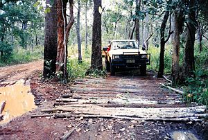 Corduroy road - Corduroy road in wet season Cape York Peninsula, Australia. 1990