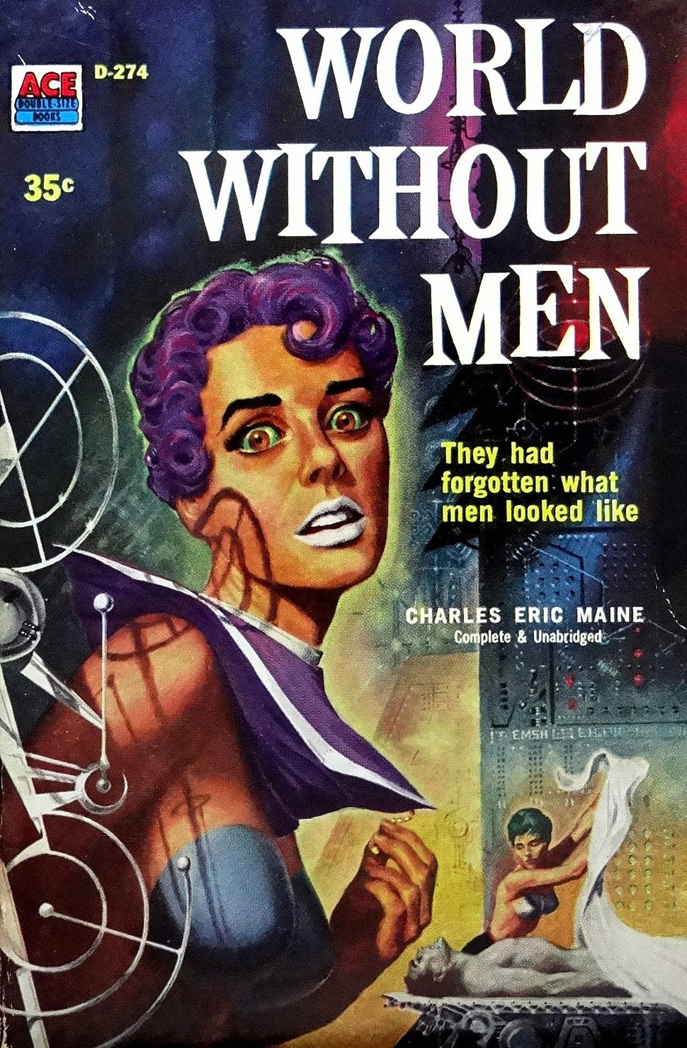 Cover of World Without Men by Charles Eric Maine - Illustration by Ed Emshwiller - Ace Books 1958
