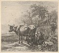 Cowherd driving three horned cattle before him; below, in the foreground, a recumbent steer and a standing steer, marsh and trees beyond MET DP832778.jpg