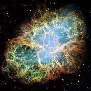 The crab nebula supernova remnant. Hubble Space Telescope mosaic image assembled from 24 individual Wide Field and Planetary Camera 2 exposures taken in October 1999, January 2000, and December 2000.