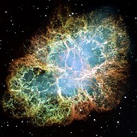 The Crab Nebula, remnants of a supernova that was first observed around 1050 AD