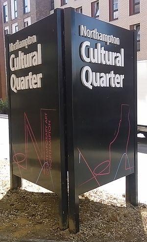 Cultural Quarter, Northampton - A sign marking the boundaries of the Cultural Quarter