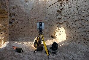 Merv - Interior of Kepderihana, with a 3D laser scanner positioned for work