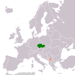 Map indicating locations of Czech Republic and Kosovo