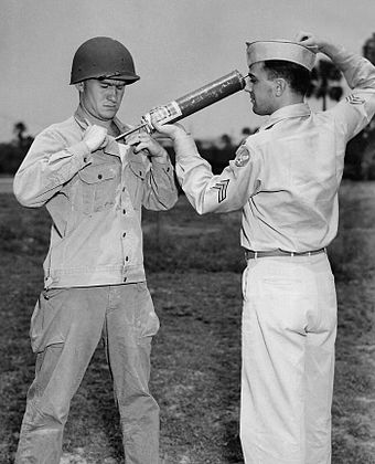 A U.S. soldier is demonstrating DDT-hand spraying equipment. DDT was used to control the spread of typhus-carrying lice. DDT WWII soldier.jpg