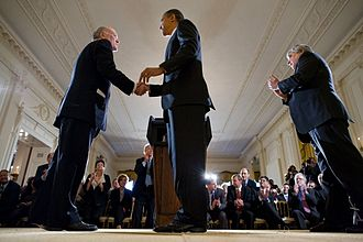 William M. Daley - President Obama welcomes Daley (left) as the new Chief of Staff in January 2011.