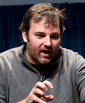 Dan Harmon - Dan Harmon at a panel for Community at PaleyFest 2010.