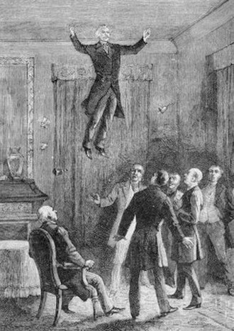 Levitation (paranormal) - The levitation of Daniel Dunglas Home at Ward Cheney's house interpreted in a lithograph from Louis Figuier, Les Mystères de la science 1887