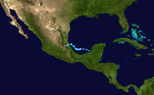 A track map of Tropical Storm Danielle during late June