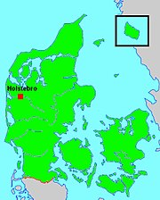 Location of Holstebro in Denmark