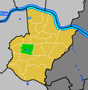Danson Park - Danson Park ward (green) within the London Borough of Bexley (yellow)