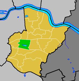 Danson Park - Danson Park ward (green) within the London Borough of Bexley (yellow)