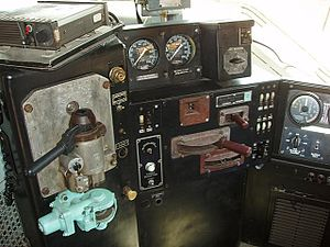 EMD DDA40X - The engineer's control stand.