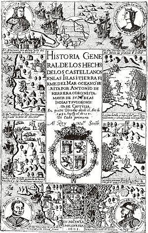 Antonio de Herrera y Tordesillas - Title page of Décadas