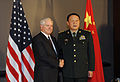 Defense.gov News Photo 101011-F-6655M-028 - Secretary of Defense Robert M. Gates and Chinese Minister of Defense Liang Guanglie shake hands and pose for the press in Hanoi Vietnam on Oct.jpg