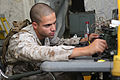 Defense.gov News Photo 101020-M-9915H-006 - Cpl. David P. Ghantous a radio operator for the 22nd Marine Expeditionary Unit checks the functions of a radio during a command post exercise at.jpg