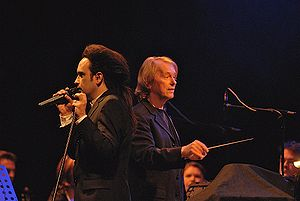 Deine Lakaien - Alexander Veljanov (left), Ernst Horn (right) performing with the Neue Philharmonie Frankfurt in Berlin, Feb. 19th, 2007