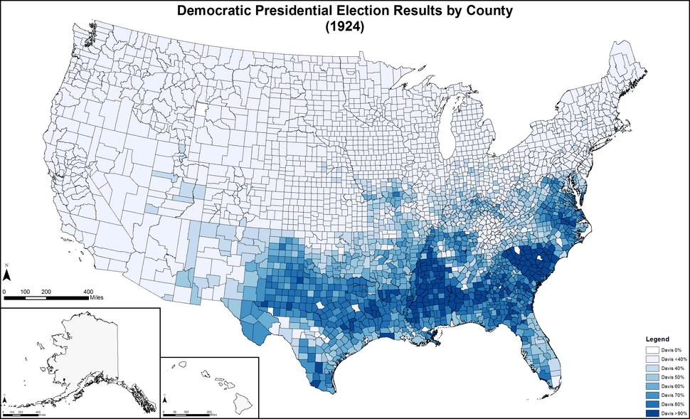 DemocraticPresidentialCounty1924Colorbrewer