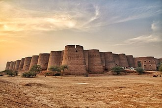 Derawar Fort - Derawar Fort was originally founded as a Bhatti fort in the 9th century CE, and rebuilt in 1732 by Nawab Sadeq Mohammad Khan as a tribute to Rawal Deoraj Bhatti, the king of  Jaisalmer and Bahawalpur. The fort was initially known as Dera Rawal, and later referred to as Dera Rawar, which with the passage of time came to be pronounced Derawar, its present name.