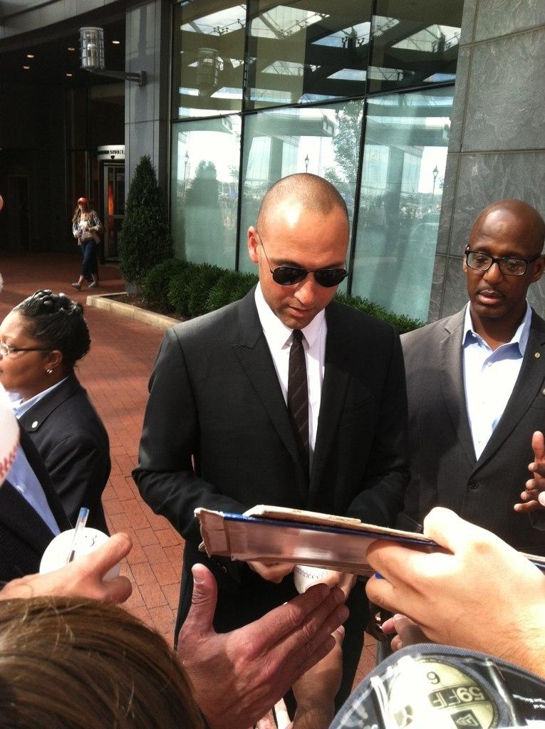 Derek Jeter outside of Baltimore hotel in 2014.