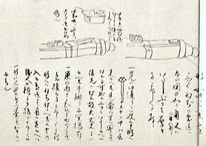 Artillery of Japan - Description of the mechanism of a breech-loading swivel gun in Japanese. 16th century.
