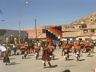 Wiphala - Aimara parade in Oruro, Bolivia with the official Wiphala