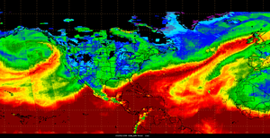 Atmospheric river - Layered precipitable water imagery of a particularly strong atmospheric river stretching from the Caribbean to the United Kingdom on 5 December 2015, caused by Storm Desmond. A second atmospheric river, which originated from the Philippines, can be seen in the Pacific Ocean off the west coast of North America.