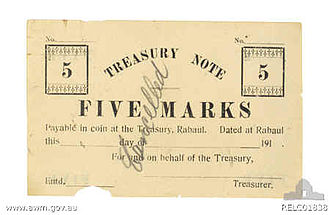 New Guinean mark - Α 5 mark treasury note issued by Australian authorities