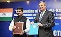 Dharmendra Pradhan and the Minister of Energy of Republic of Kazakhstan, Mr. Vladimir Shkolnik signed the protocol at the 12th India-Kazakhstan, Inter-Governmental Commission meeting, in New Delhi on June 17, 2015.jpg