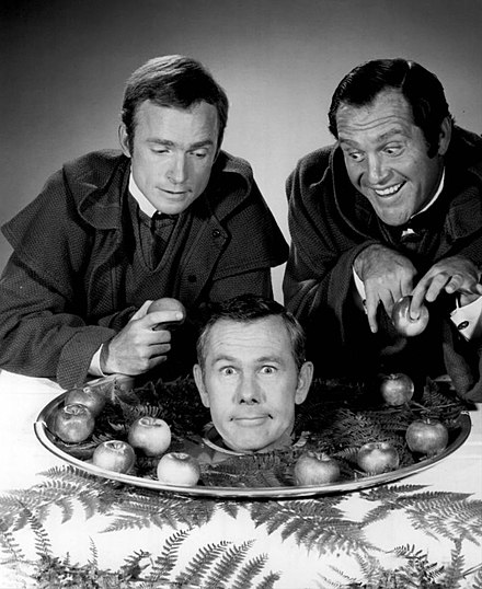 With Dick Cavett and Alan King in 1968 Dick Cavett Alan King Johnny Carson Friars Club Carson roast 1968.JPG