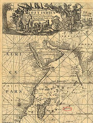 Diogo Rodrigues - Detail of Mascarenes islands from a Dutch map of 1689 showing the island named as Diogo Rodrigues