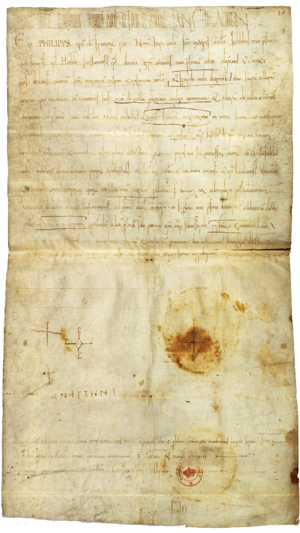 Anne of Kiev - A diploma signed by Anne and her son Philip in 1063.