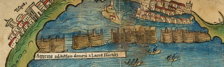 Dique Nezahualcóyotl primer mapa de Tenochtitlan