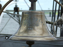 "Brass bell, with inscription: ""SS Discovery, London 1901"""
