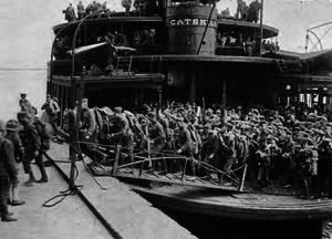 Camp Merritt, New Jersey - Troops disembarking at Hoboken piers.