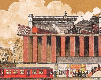 District Railway - Part of a UERL poster from 1914 shows the underground District Railway Embankment station under the South Eastern and Chatham Railway's Charing Cross terminus